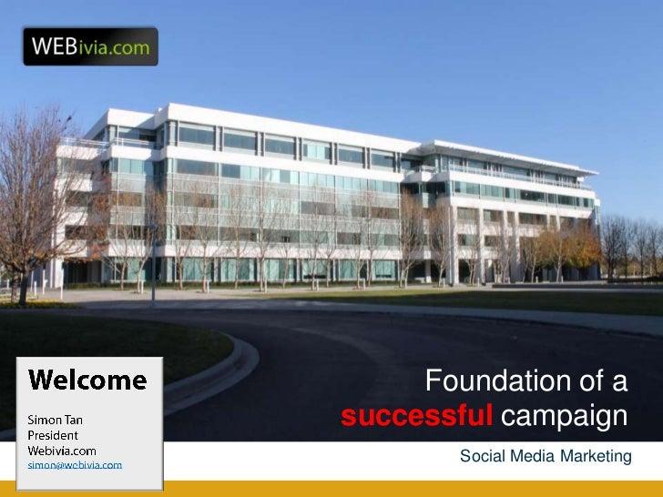 Foundation of asuccessful campaign        Social Media Marketing