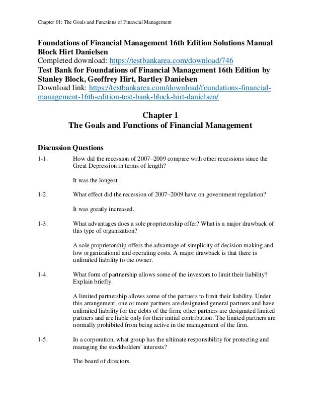 foundations of financial management 16th edition solutions manual rh slideshare net fundamentals of financial management brigham solution manual free download fundamentals of financial management 12th edition solution manual pdf download