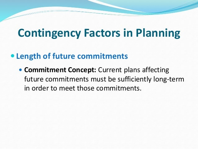 contingency factors affecting planning