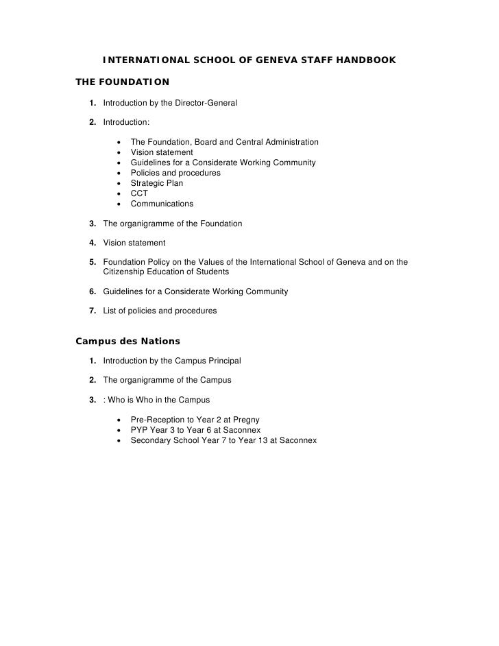 INTERNATIONAL SCHOOL OF GENEVA STAFF HANDBOOK  THE FOUNDATION    1. Introduction by the Director-General    2. Introductio...