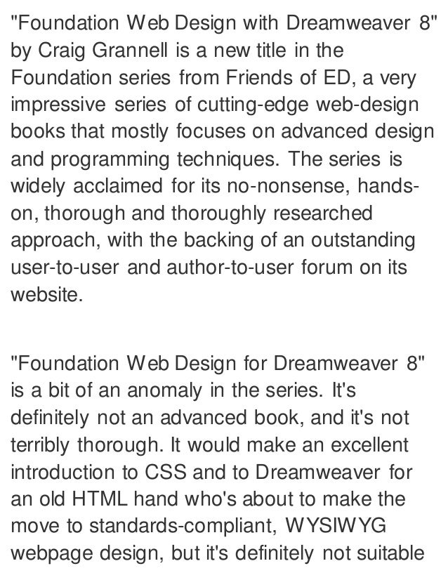 Foundation Web Design With Dreamweaver 8 1st Ed Edition Pdf Ebook Fu