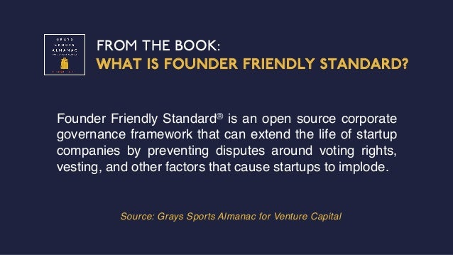 FROM THE BOOK: WHAT IS FOUNDER FRIENDLY STANDARD? Source: Grays Sports Almanac for Venture Capital Founder Friendly Standa...
