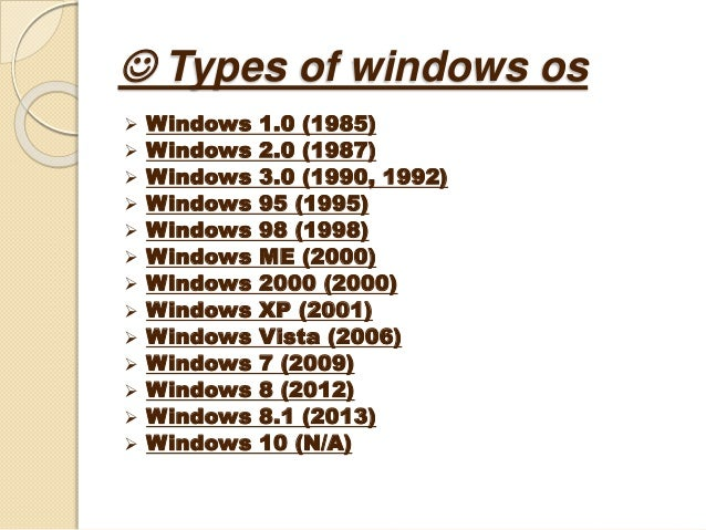 a comparison of different types of microsoft operating systems Iiii types of operating system real-time operating  all these, except  windows, windows phone and z/os, share roots in unix.