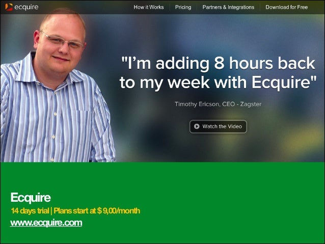 Ecquire 14 days trial | Plans start at $ 9,00/month  www.ecquire.com