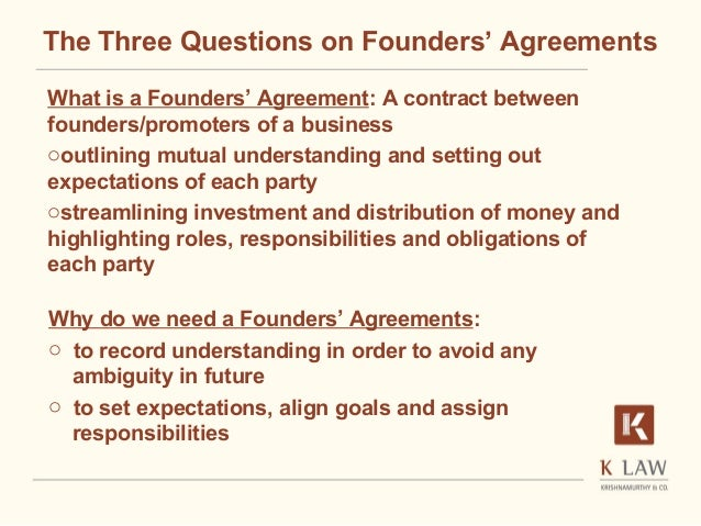 Founders agreement A critical start for a startup Naina Krishnam
