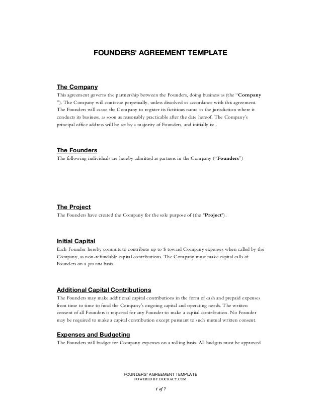 Startup founders agreement template founders agreement template powered by docracy of1 7 founders agreement template the platinumwayz