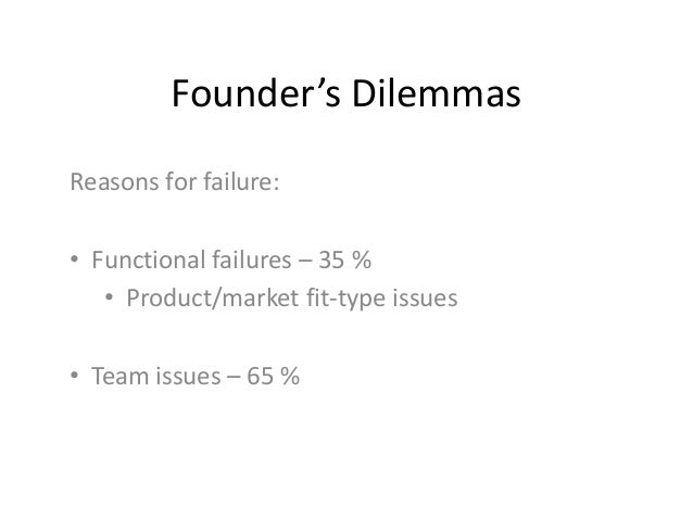Founder's DilemmasReasons for failure:• Functional failures – 35 %• Product/market fit-type issues• Team issues – 65 %