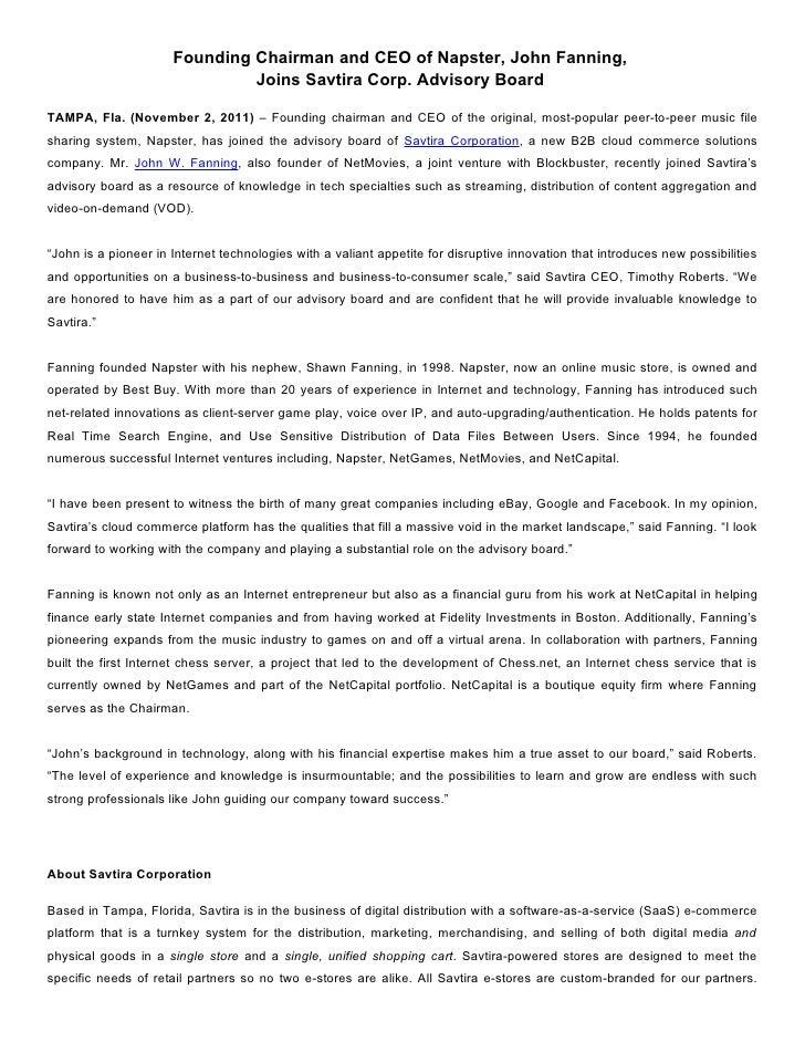 Founding Chairman and CEO of Napster, John Fanning,  Joins Savtira Corp. Advisory Board