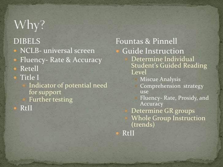 fountas and pinnell instructional level