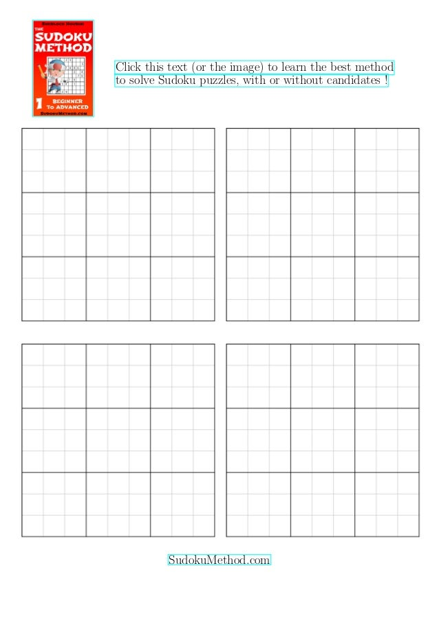 photo about Sudoku Puzzles Printable Pdf called Totally free Printable Blank Sudoku Grid (4 blank sudoku grids