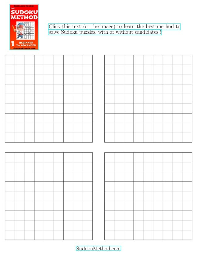 photograph regarding Printable Sudoku Grids known as Free of charge Printable Blank Sudoku Grid (4 blank sudoku grids
