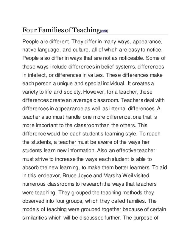 Four Ways That Students And Families >> Four Families Of Teaching