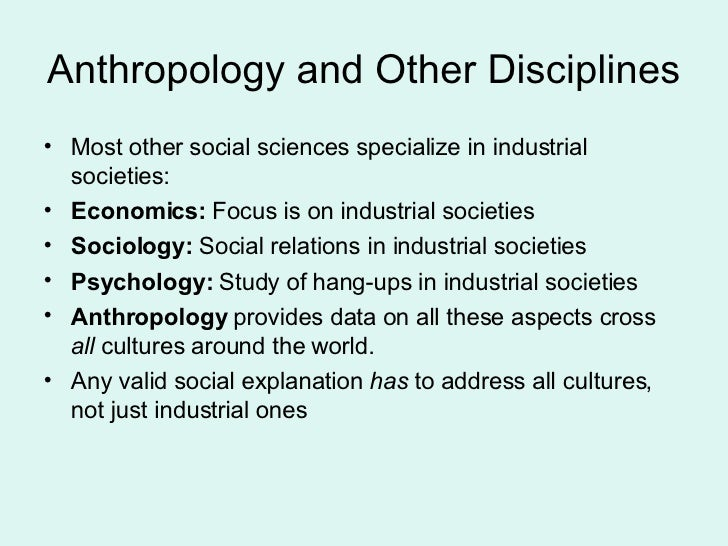 how does anthropology differ from other social sciences