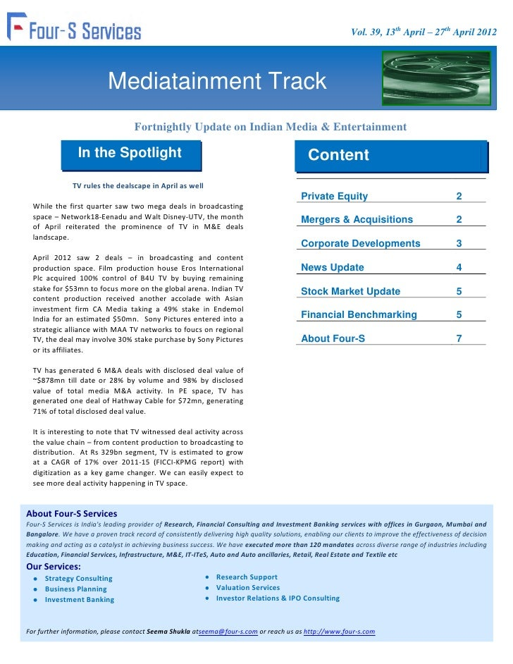 Vol. 39, 13th April – 27th April 2012                           Mediatainment Track                                   Fort...