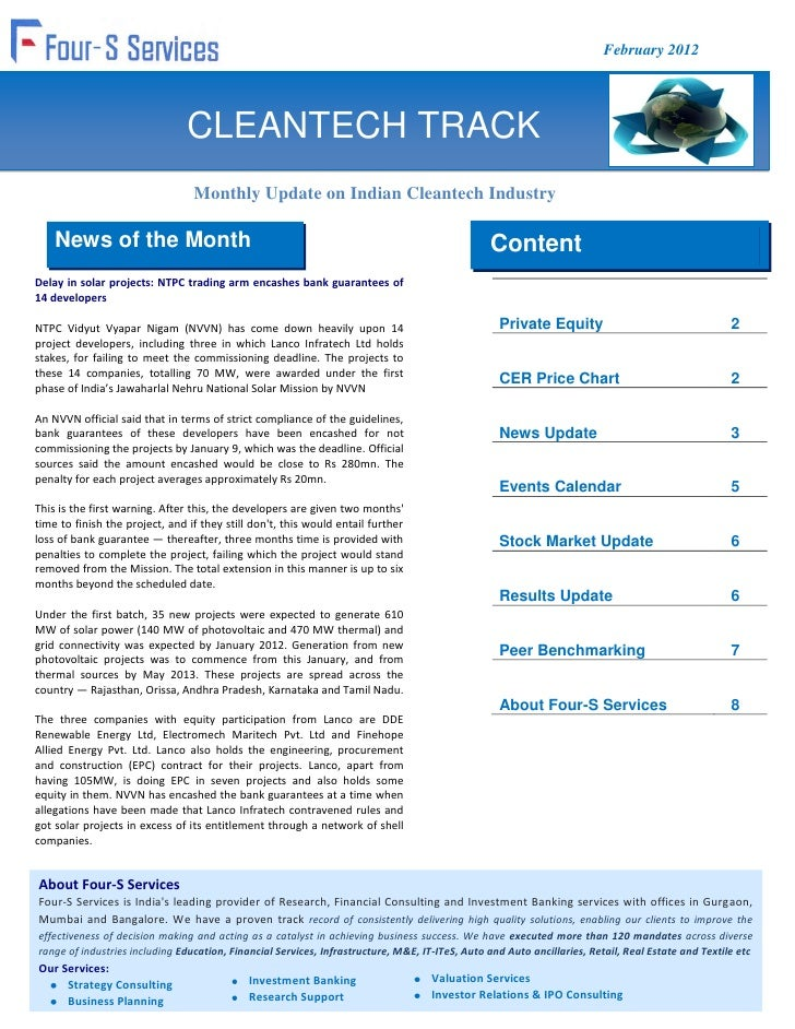 February 2012                                CLEANTECH TRACK                                 Monthly Update on Indian Clea...