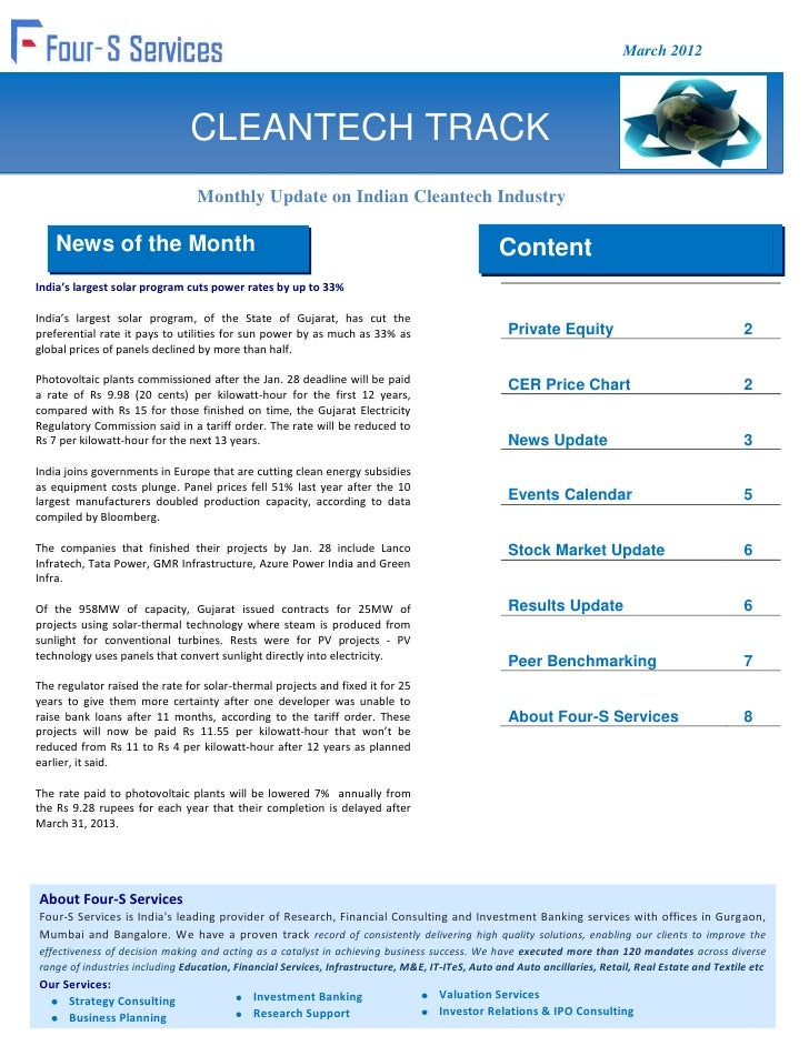 March 2012                               CLEANTECH TRACK                                 Monthly Update on Indian Cleantec...