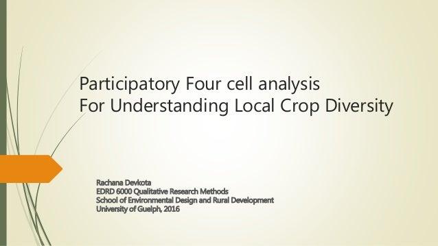 Participatory Four cell analysis For Understanding Local Crop Diversity Rachana Devkota EDRD 6000 Qualitative Research Met...