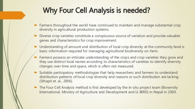 Why Four Cell Analysis is needed?  Farmers throughout the world have continued to maintain and manage substantial crop di...