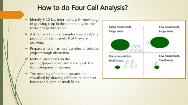 How to do Four Cell Analysis?  Identify 6-12 key informants with knowledge of growing crop in the community for the focus...