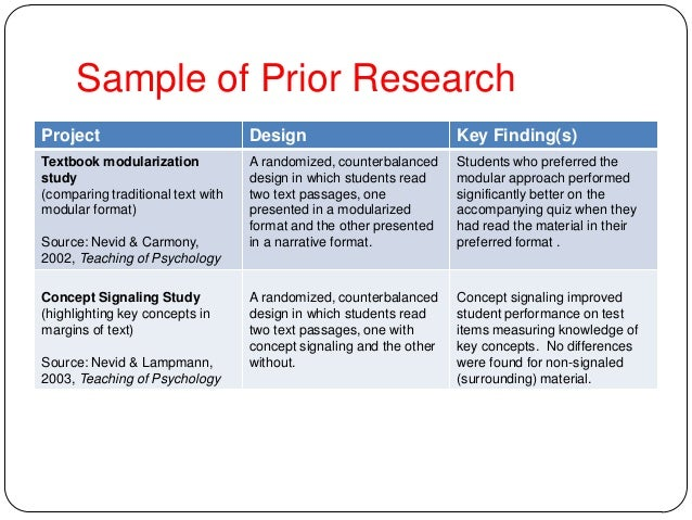 Sample of Prior Research Project Design Key Finding(s) Textbook modularization study (comparing traditional text with modu...