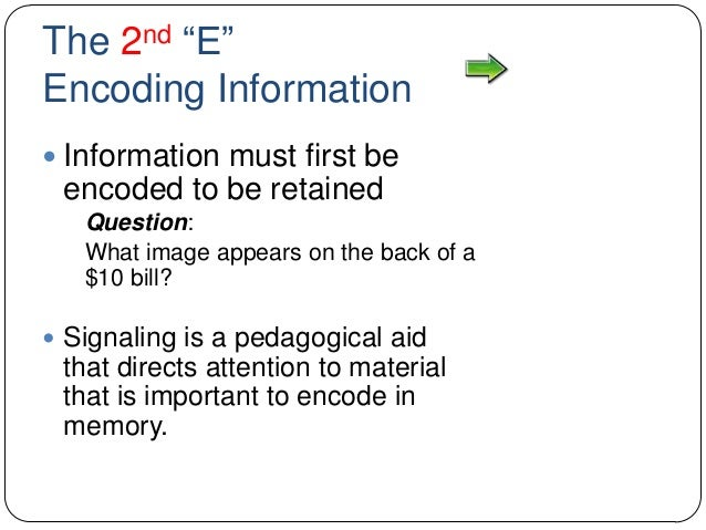 """The 2nd """"E"""" Encoding Information  Information must first be encoded to be retained Question: What image appears on the ba..."""