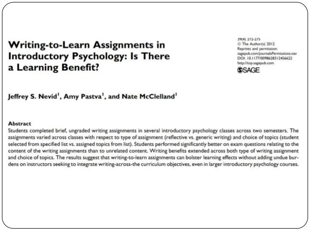Learning Benefits of Journaling Source: Nevid, J.S., Pastva, A., & McClelland, N. (2012). Writing-to-learn assignments in ...