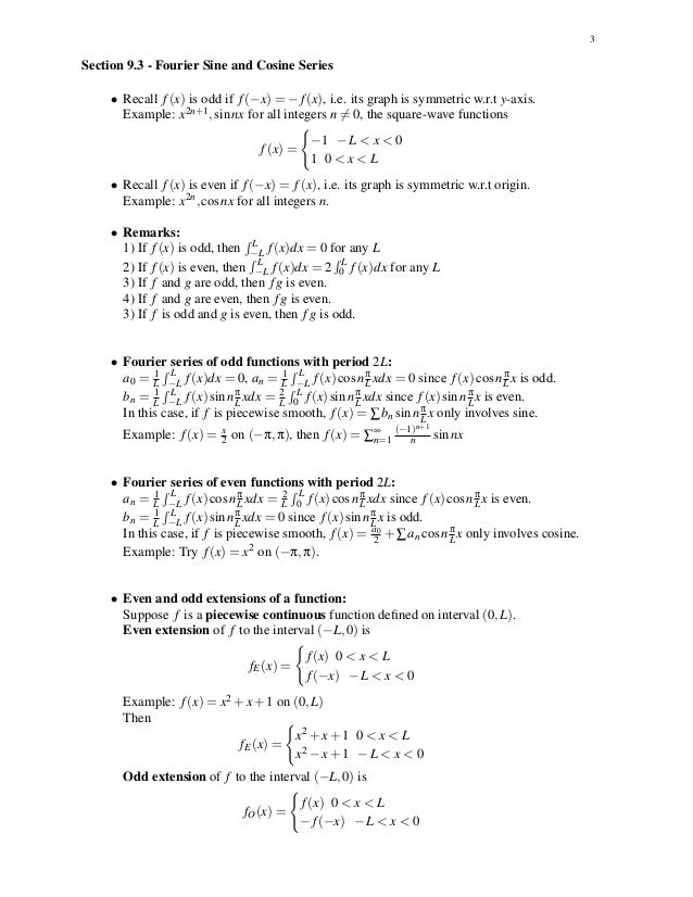 Fourier Series Of Odd Functions With Period 2 L