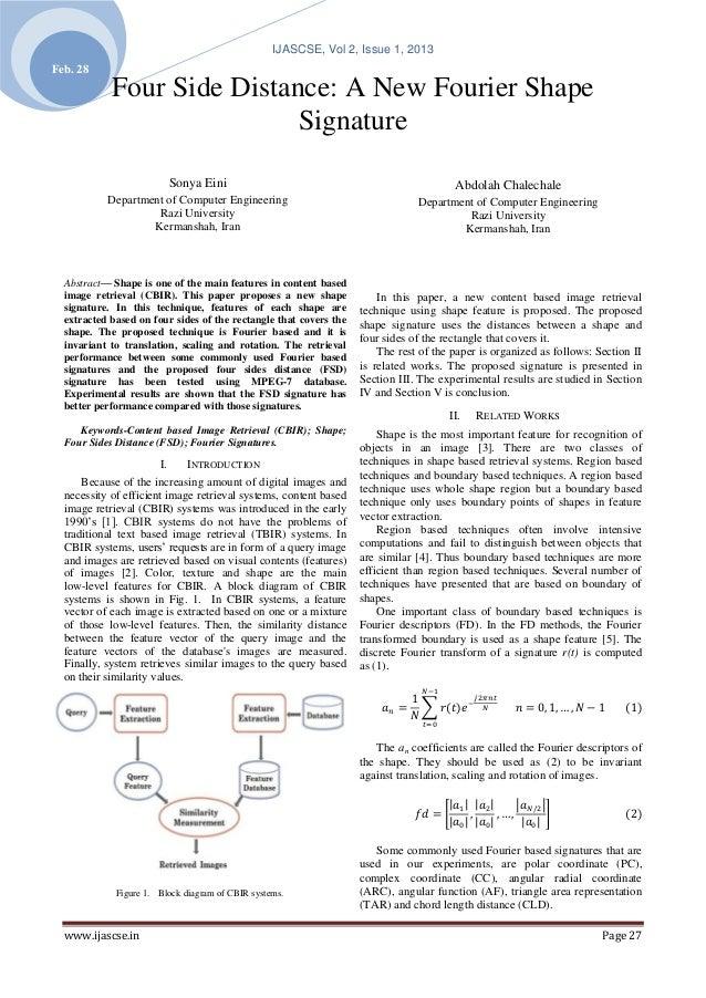 IJASCSE, Vol 2, Issue 1, 2013Feb. 28            Four Side Distance: A New Fourier Shape                            Signatu...