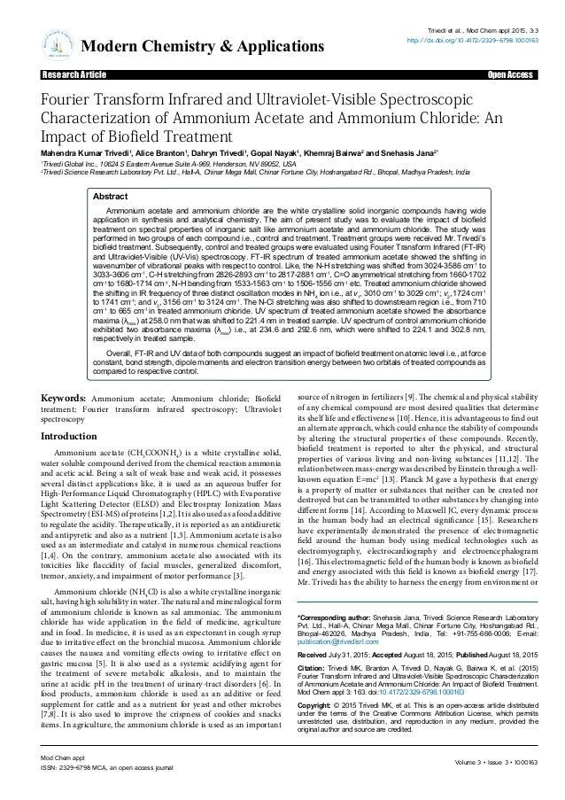Volume 3 • Issue 3 • 1000163Mod Chem appl ISSN: 2329-6798 MCA, an open access journal ModernC hemistry & Ap plications ISS...