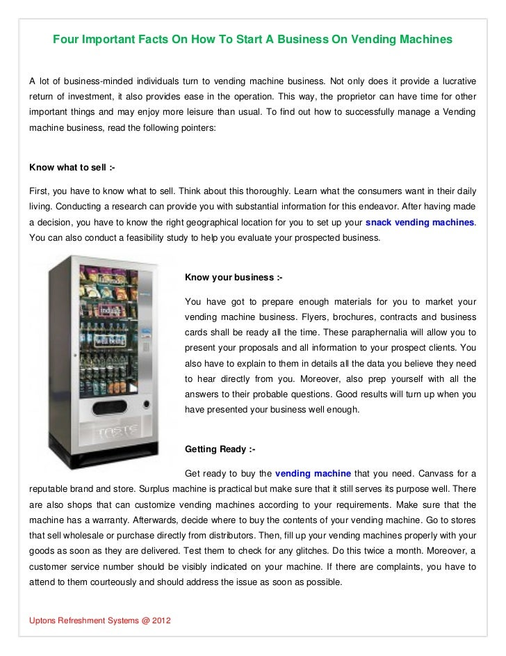 Four Important Facts On How To Start A Business On Vending Machines