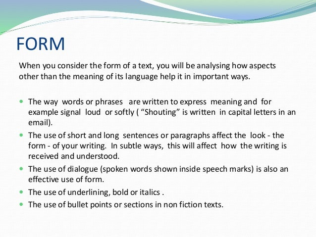 the form of an essay Video: basic essay structure: the five-paragraph essay the 5-paragraph essay is really a tried and true format that allows writers to adequately argue their thesis as well as provide readers a full circle experience by including an introduction and a conclusion.