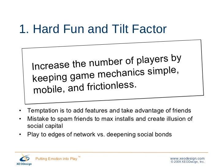 1. Hard Fun and Tilt Factor <ul><li>Temptation is to add features and take advantage of friends </li></ul><ul><li>Mistake ...