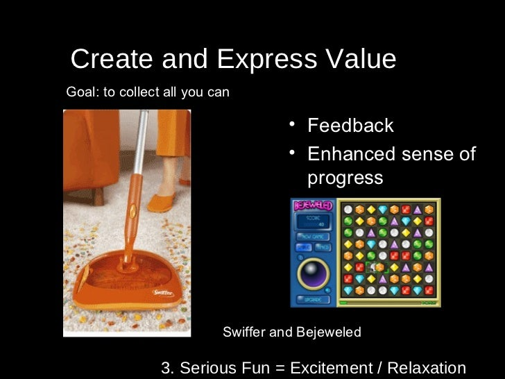 3. Serious Fun = Excitement / Relaxation Create and Express Value Swiffer and Bejeweled Goal: to collect all you can <ul><...