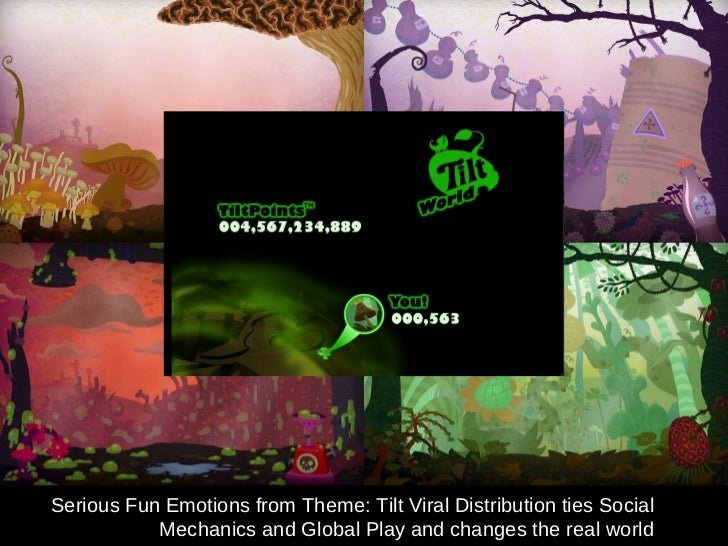 Serious Fun Emotions from Theme: Tilt Viral Distribution ties Social Mechanics and Global Play and changes the real world