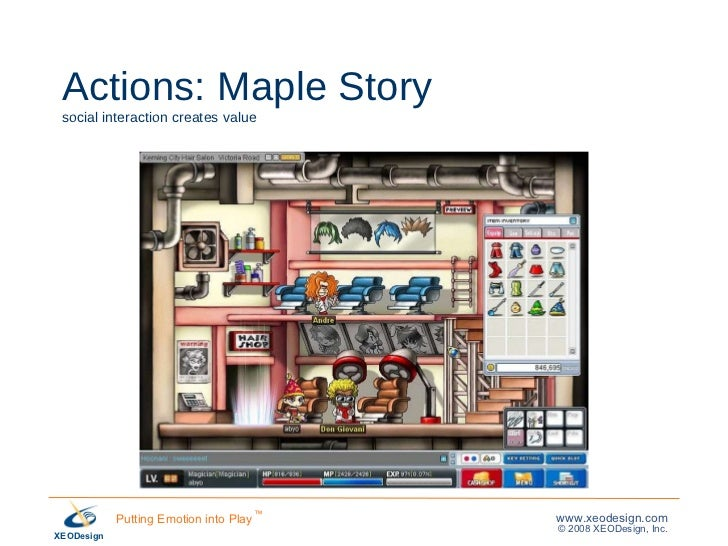 Actions: Maple Story social interaction creates value