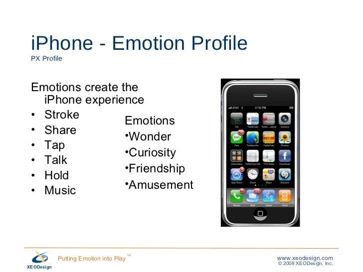 iPhone - Emotion Profile PX Profile <ul><li>Emotions create the iPhone experience </li></ul><ul><li>Stroke </li></ul><ul><...