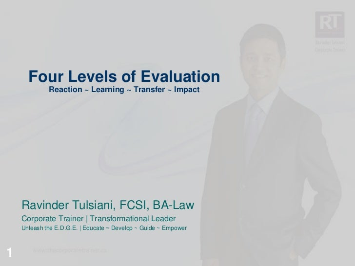 Four Levels of Evaluation             Reaction ~ Learning ~ Transfer ~ Impact    Ravinder Tulsiani, FCSI, BA-Law    Corpor...