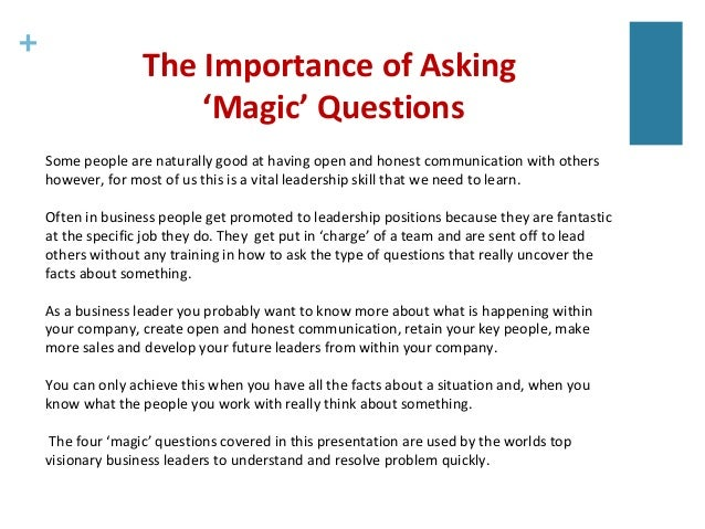 Four 'Magic' Questions that Help Resolve Most Problems ...