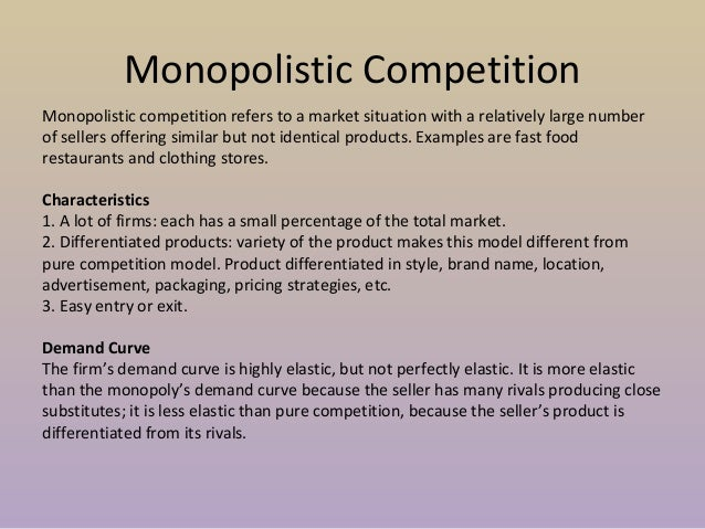 applebees monopolistic competition Monopolistic competition is a form of imperfect competition and can be found in many real world markets ranging from clusters of sandwich bars, other fast food.