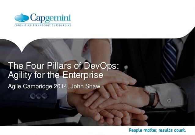Agile Cambridge 2014, John Shaw  The Four Pillars of DevOps:  Agility for the Enterprise