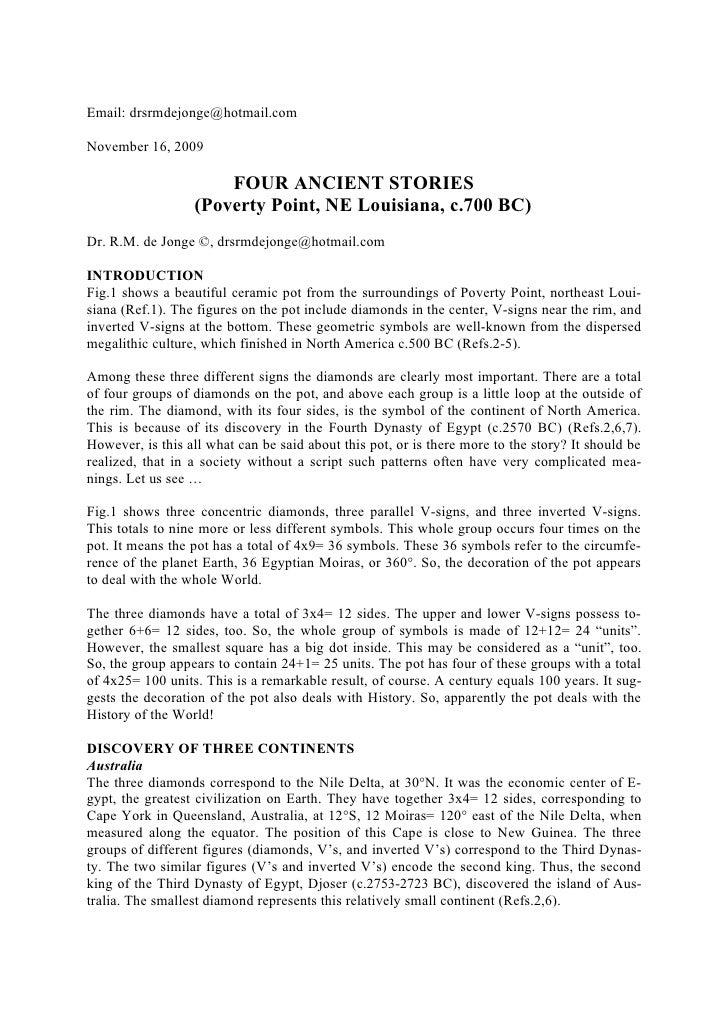 Email: drsrmdejonge@hotmail.com  November 16, 2009                        FOUR ANCIENT STORIES                   (Poverty ...