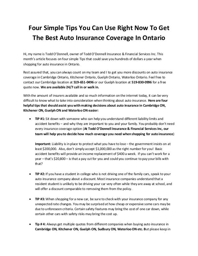Four Simple Tips You Can Use Right Now To Get The Best Auto Insuranc
