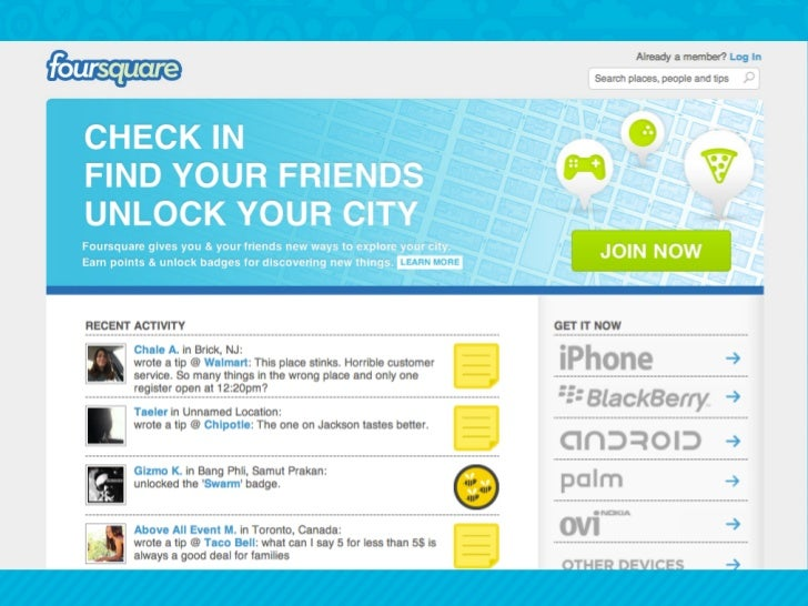 •  The article describes Foursquare as a   service with a friendly graphical user   interface and which takes advantage   ...