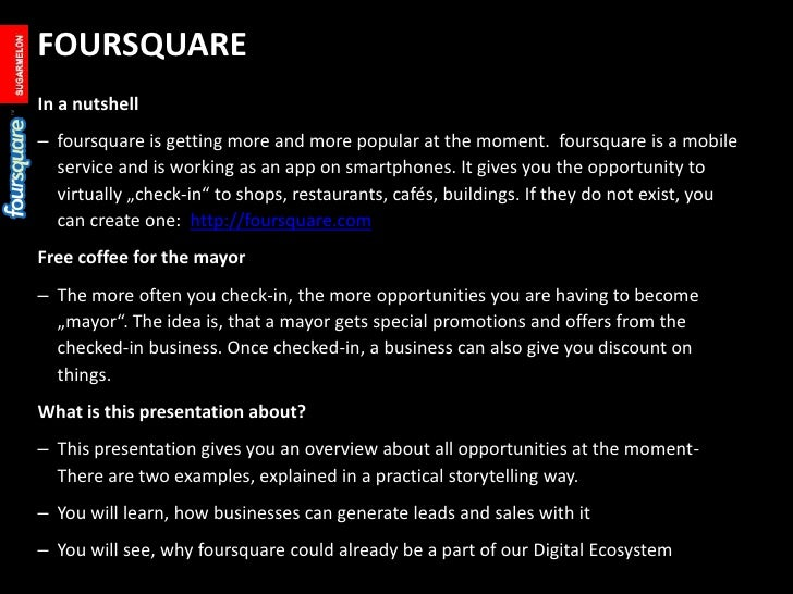Summary, ideas and best practises with foursquare #sugarmelon #bcvie Slide 2