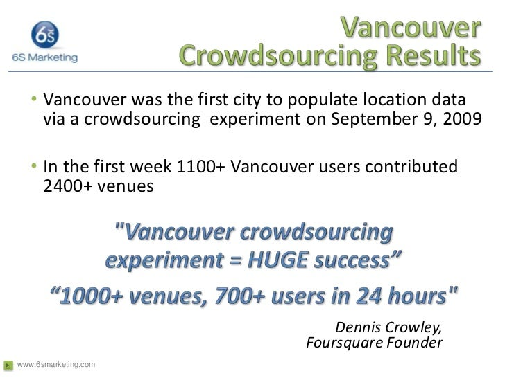 Vancouver Crowdsourcing Results<br />Vancouver was the first city to populate location data via a crowdsourcing  experimen...