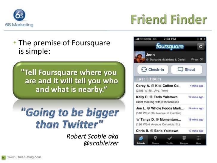 Friend Finder<br />The premise of Foursquare is simple:<br />&quot;Tell Foursquare where you are and it will tell you who ...