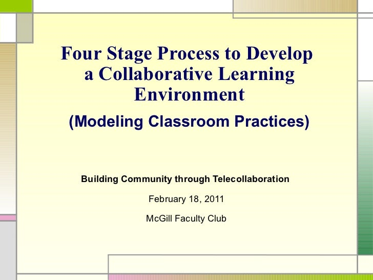 Four Stage Process to Develop  a Collaborative Learning Environment ( Modeling Classroom Practices ) B uilding Community t...