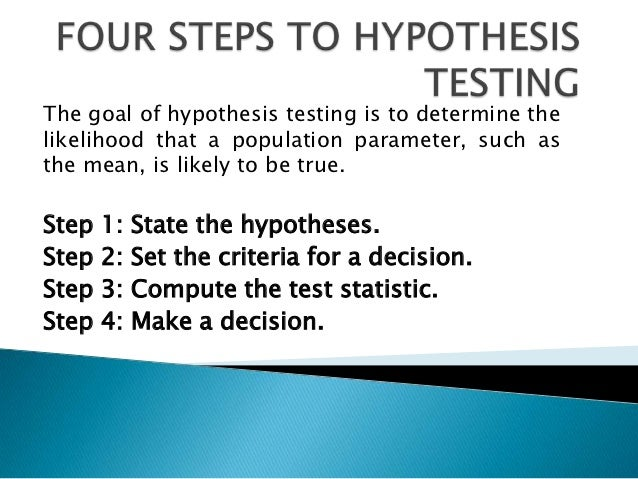 The goal of hypothesis testing is to determine thelikelihood that a population parameter, such asthe mean, is likely to be...
