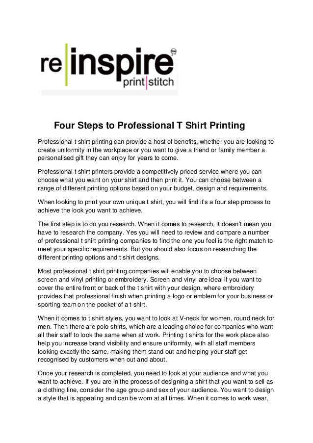 c02c4337 Four Steps to Professional T Shirt Printing Professional t shirt printing  can provide a host of ...