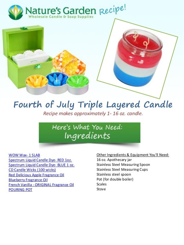 Fourth of July Triple Layered Candle Recipe makes approximately 1- 16 oz. candle. WOW Wax- 1 SLAB Spectrum Liquid Candle D...
